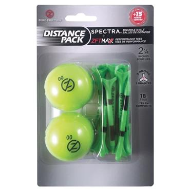 Zero Friction Spectra Distance 2 Ball/Tee Pack PACK Lime