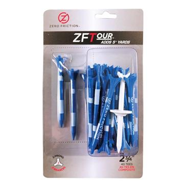 """Zero Friction 3 Prong Tour Tee 2 3/4"""" 40 Pack Blue"""