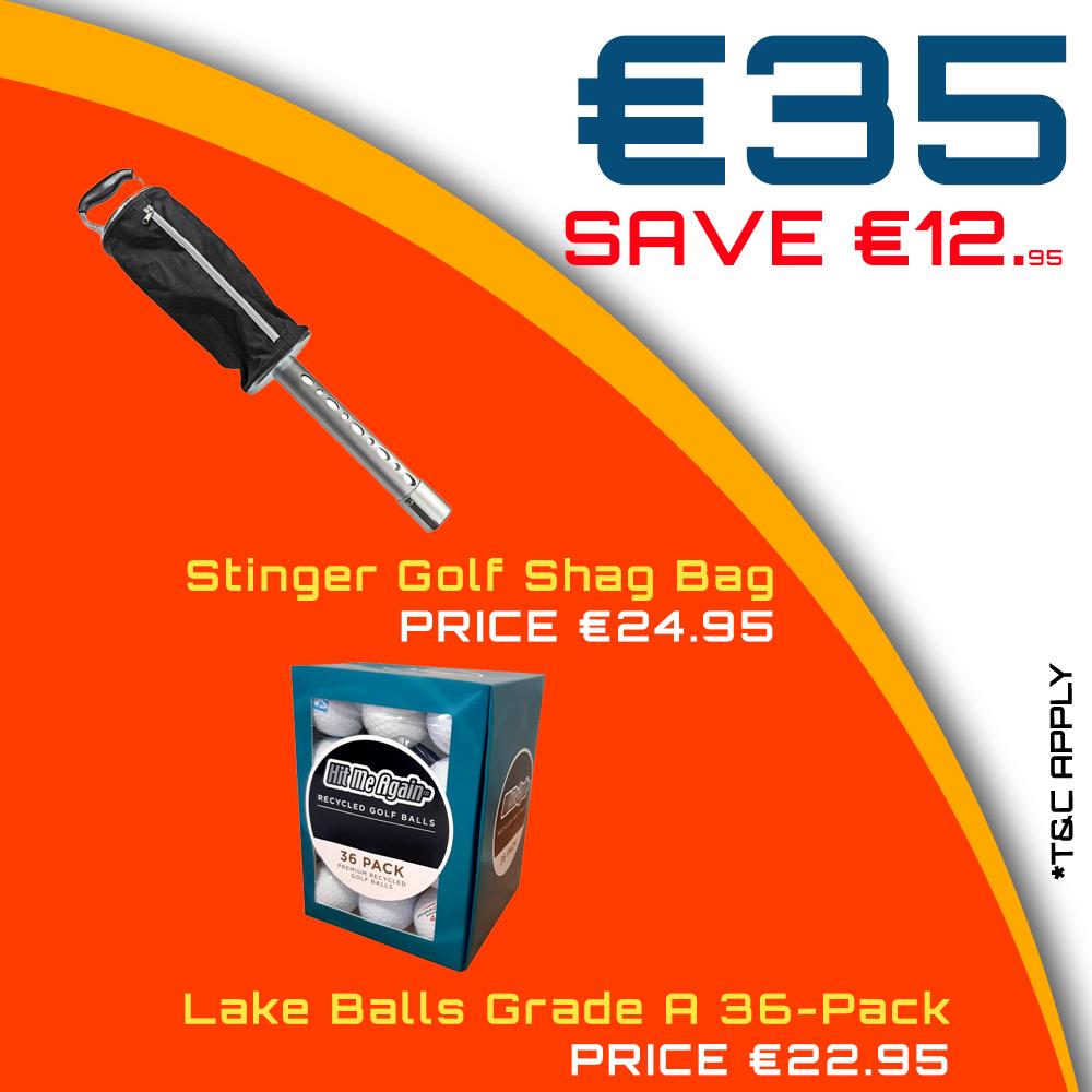 Bundle Offer - Stinger Golf Shag Bag & Lake Balls Grade A 36-Pack for €35