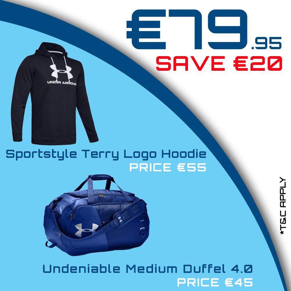 Bundle Offer - UA Sportstyle Terry Logo Hoodie & UA Undeniable Medium Duffel 4.0 for €79.95