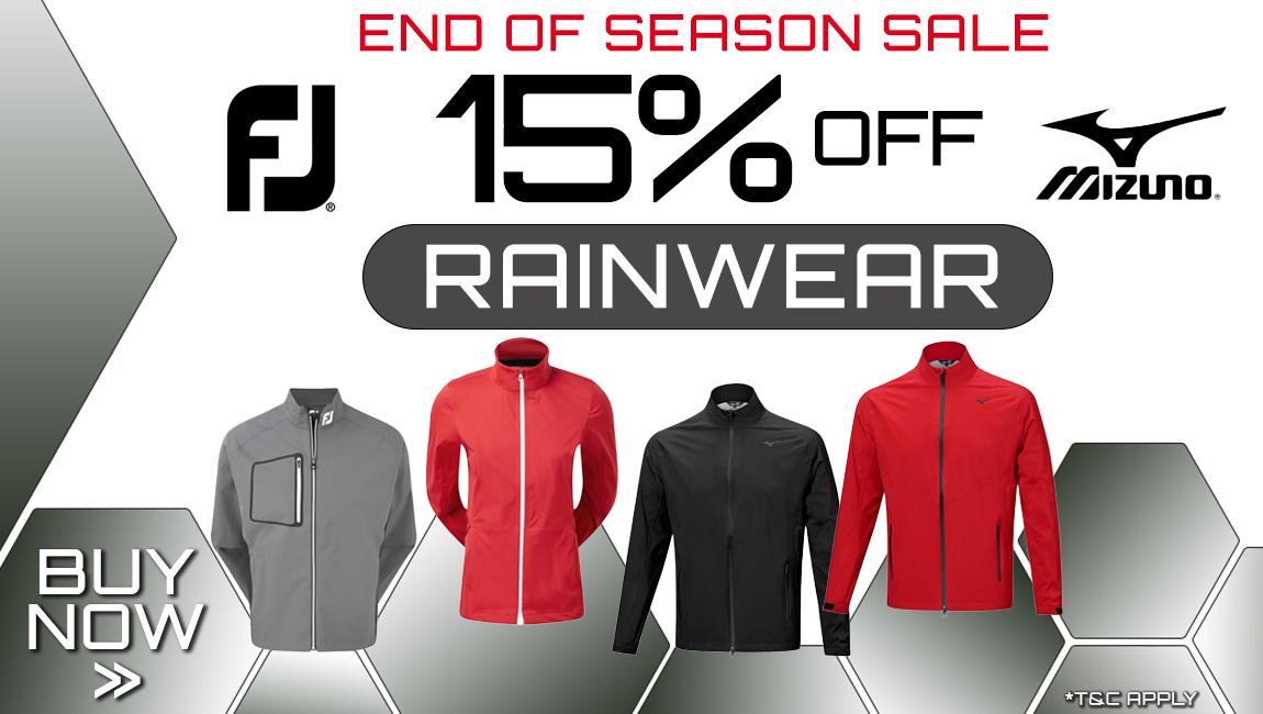 End of Season Sale - Up to 15% of FJ and Mizuno Rainwear