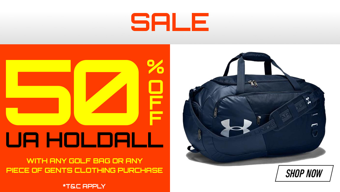 50% Off UA Holdall when you buy any golf shoes