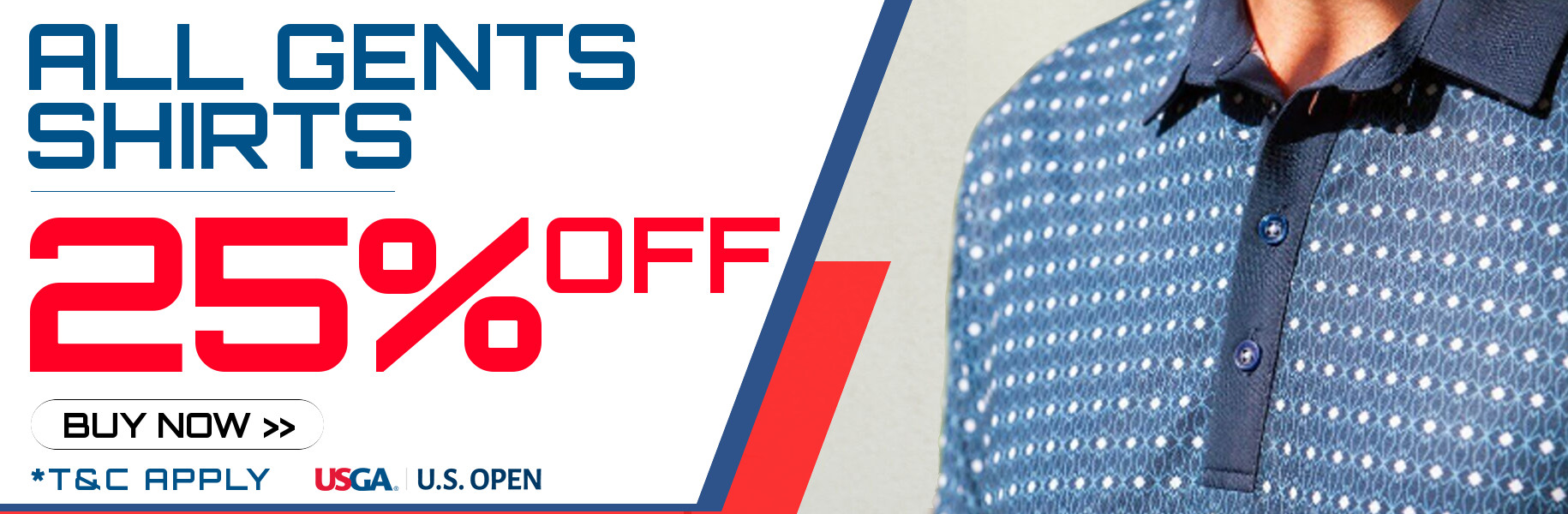 US Open Offer - 25% Off All Gents Shirts