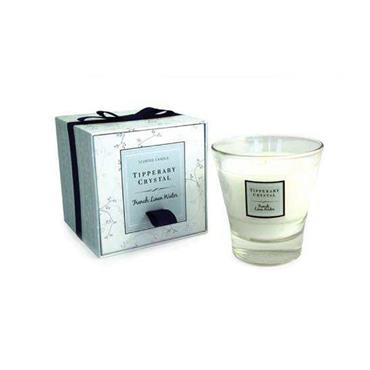 French Linen Water Candle Filled Tumbler by Tipperary Crystal