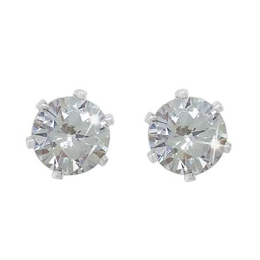 Solitaire Silver Earrings - 6mm studs Tipperary Crystal