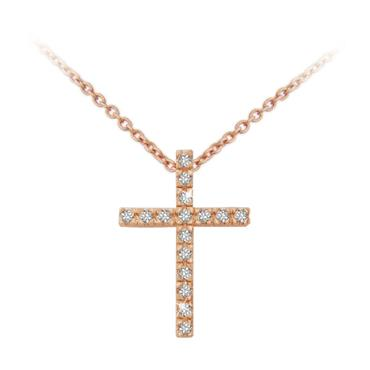 Fine Cross Pendant Rose Gold by Tipperary Crystal