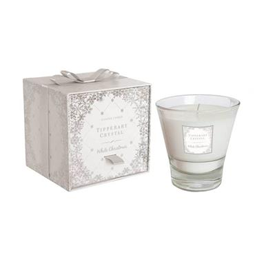 White Christmas Candle Filled Tumbler by Tipperary Crystal