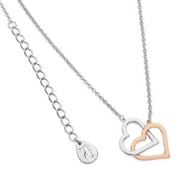 Interlocked two tone heart pendant by Tipperary Crystal