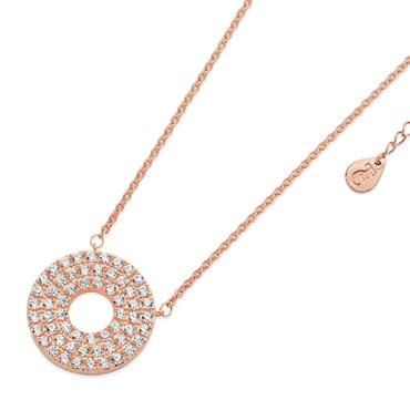 Rose Gold pave triple band moon pendant Tipperary Crystal