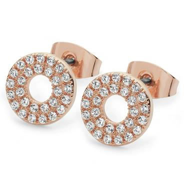 Rose gold pave double band moon earrings