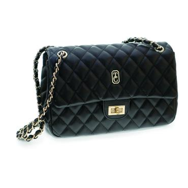 Tipperary Crystal Quilted Palermo Shoulder Bag - Black