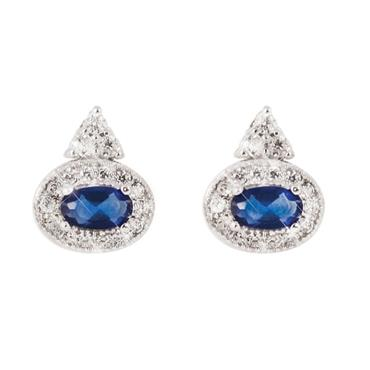 Oval sapphire earrings silver by Tipperary Crystal