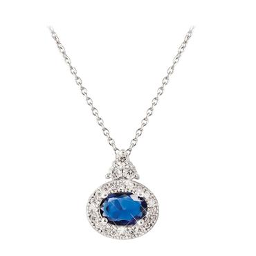 Oval sapphire with white surround pendant by Tipperary Crystal