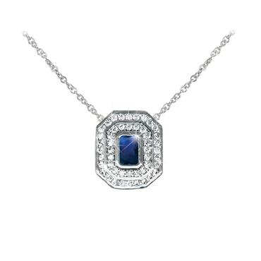 Silver Sapphire ans White pendant Tipperary Crystal