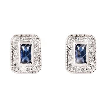 Silver Sapphire Centre Earrings Tipperary Crystal