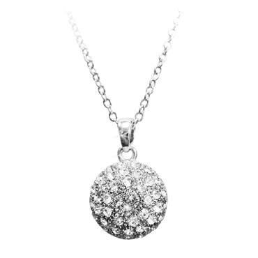 Pave ball pendant silver