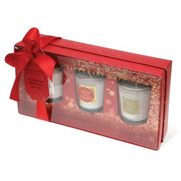 Set of 3 Christmas Candles in Red Gift Box by Tipperary Crystal