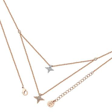 Double floating pave star necklace in rose gold by Tipperary Crystal
