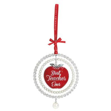 Pearl Best Teacher Ever Christmas Decoration - Tipperary Crystal