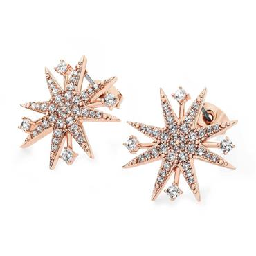 Star bright rose gold earrings by Tipperary Crystal
