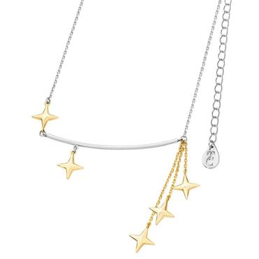 Stars falling silver & champagne gold bar pendant by Tipperary Crystal