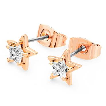 Star clear cubic zirconia stud earrings in rose gold by Tipperary Crystal