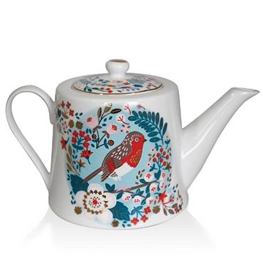 Birdy Robin & Blue Tit Tea Pot by Tipperary Crystal