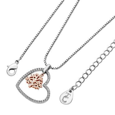 Silver pave heart pendant with a floating rose gold tree of life - Tipperary Crystal
