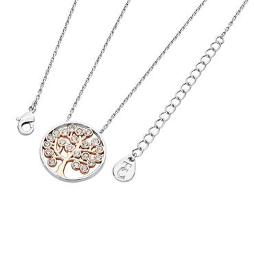 Silver circle pendant with crystals Tree of Life in Rose Gold