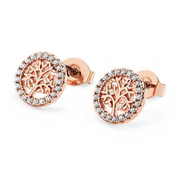 Tree of Life circle stud earrings rose gold - Tipperary Crystal