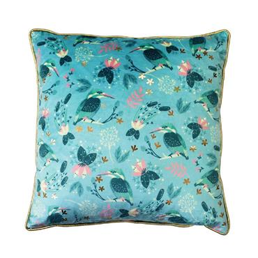 Kingfisher Birdy Cushion by Tipperary Crystal