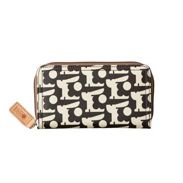 Orla Kiely Baby Bunny Print Big Zip Wallet-Black