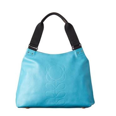 Orla Kiely Embossed Flower Leather Zip Shoulder Bag - Sky