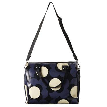 Orla Kiely Shiny Laminated Shadow Flower Print Zip Messenger Bag - Midnight