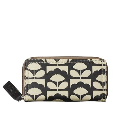 Orla Kiely Big Zip Wallet - Charcoal