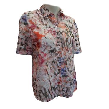 Erfo Khaki, Pink, Coral and White Cotton Blouse