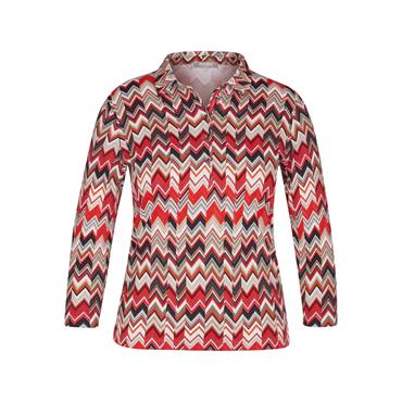 Rabe  Patterned Top with Collar - Red/Beige/Black