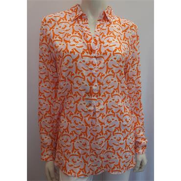 Erfo Pale Pink, Coral and White Abstract Print Blouse