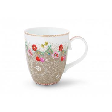 Pip Studio Floral Mug Large Cherry Khaki