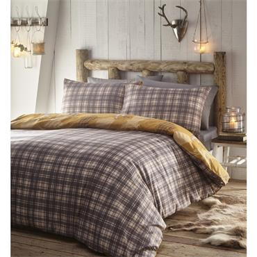 Tartan Stag Deer Ochre Duvet Cover Set by Portfolio Home