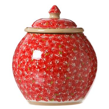 Cookie Jar and Medium Heart Plate Lawn Red