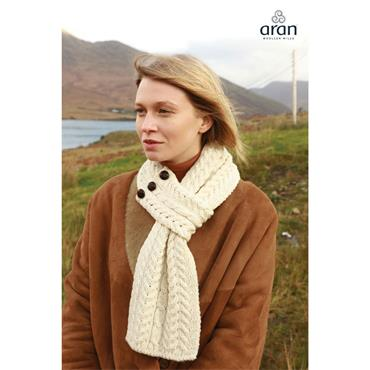 Aran Woolen Mills Buttoned Loop Scarf - White