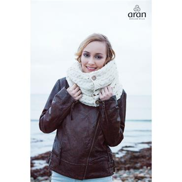 Aran Woolen Mills Snood Scarf with Buttons - White