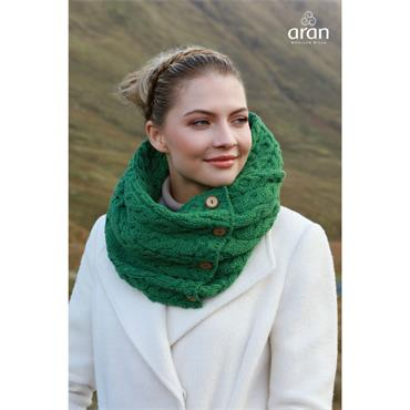 Aran Woolen Mills Snood Scarf with Buttons - Kiwi