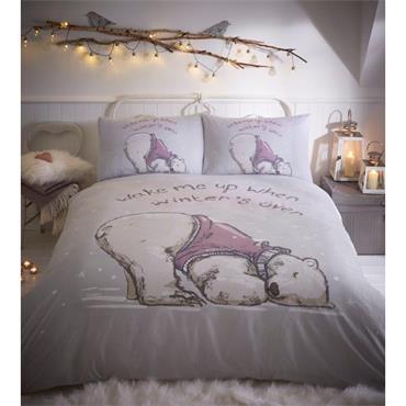 Lazy Bear Grey Duvet Set by Portfolio Home - King