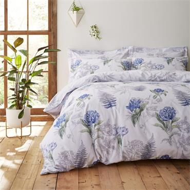 Bianca Botanical Floral Cotton Print Duvet Cover Set, White/Blue