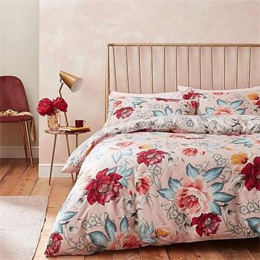 Isla Floral Blush 100% Cotton Reversible Duvet Cover Set by Accessorize