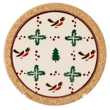 Trivet Round Winter Robin by Nicholas Mosse Pottery