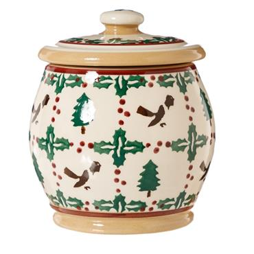 Small Round Lidded Jar Winter Robin