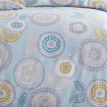 Anja Floral Retro Geometric Duck Egg Duvet Cover Set